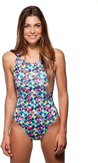 Turbo - Bañador Mujer Natacion Origami Multicolor Rosa de Sport, Triathlon Nadar Profesional Señora, Traje de Baño de Natacion Entrenamiento Competicion, Tira Ancha Doble Capa (3XL): Amazon.es: Ropa y accesorios