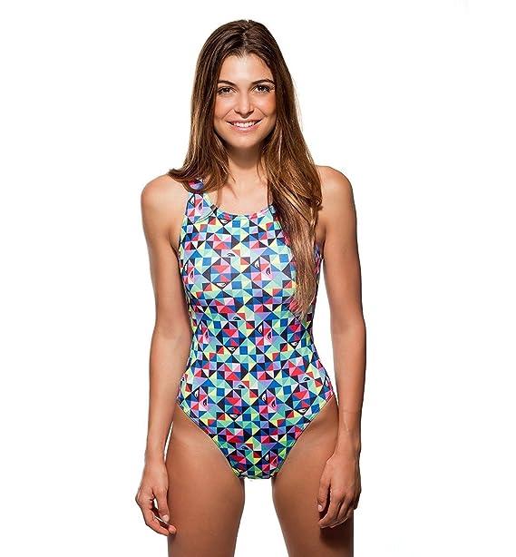 Turbo - Bañador Mujer Natacion Origami Rosa de Sport, Triathlon Nadar Profesional Señora, Traje