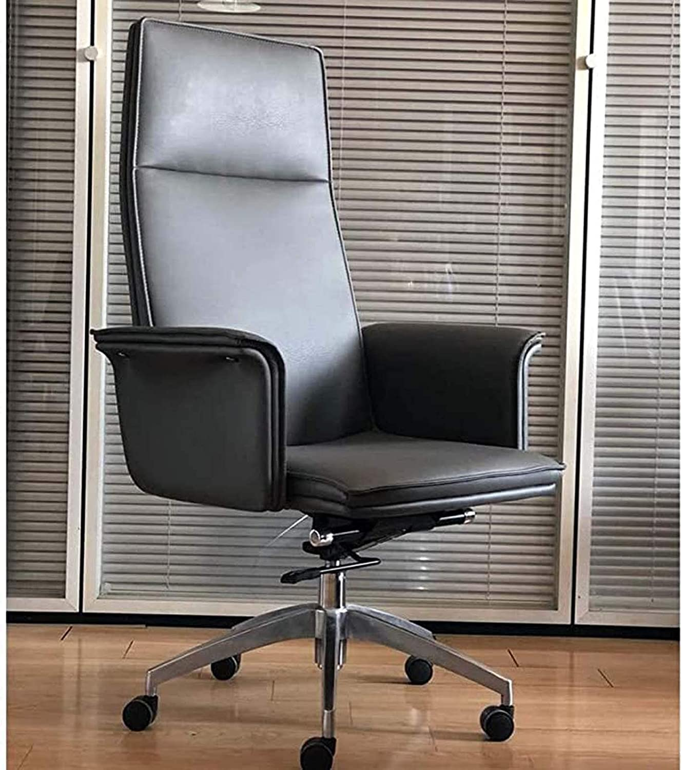 Minimalist Office Chair, High-Back Leather Manager Chair, Reclining Swivel Office Chair Executive Chair, Fashionable Modern Light Luxury