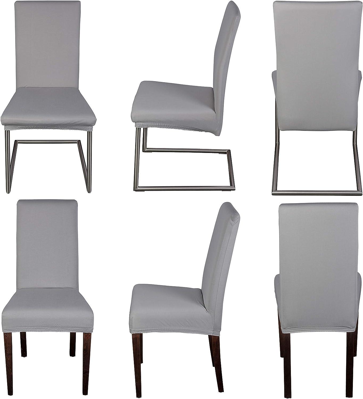 Staboos Housse de chaise extensible universelle en coton 96 % facile d'entretien et infroissable, gris clair, Lot de 4