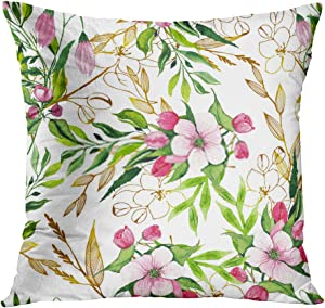 Joaffba Throw Pillow Cover Decorative Easter Bunnies Egg Balloon Car Flags Pink Apple Blossoms Branches Leaf Twigs 20x20 Inch Pillow Case Home Car Sofa Office Meeting Room Decor Cushion Pillowcase