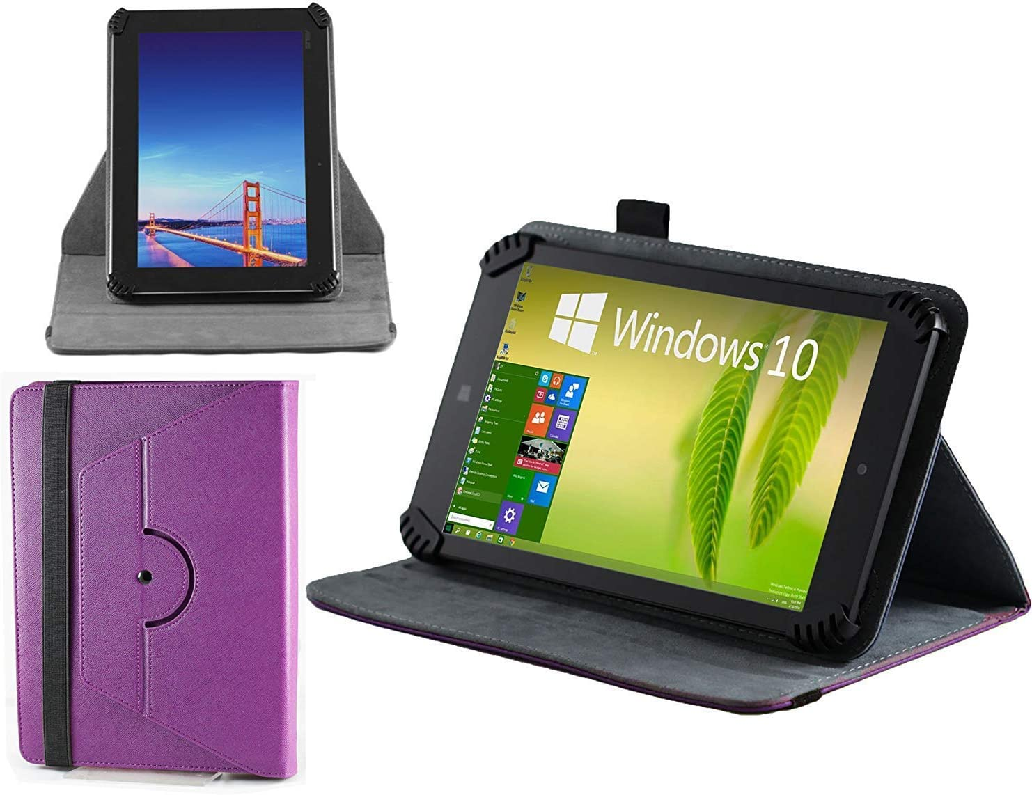 Navitech Purple Leather Case Cover with 360 Rotational Stand & Atlas Stylus Compatible with The LG G Pad F 8.0 | LG G Pad V495 | LG G Pad X 8.0 V520 | LG GPad X2 8.0 Plus V530 | LG G Pad V400