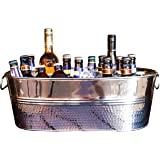 BREKX Colt Hammered Stainless Steel Party Beverage Tub & Wine Chiller - 15 Quarts