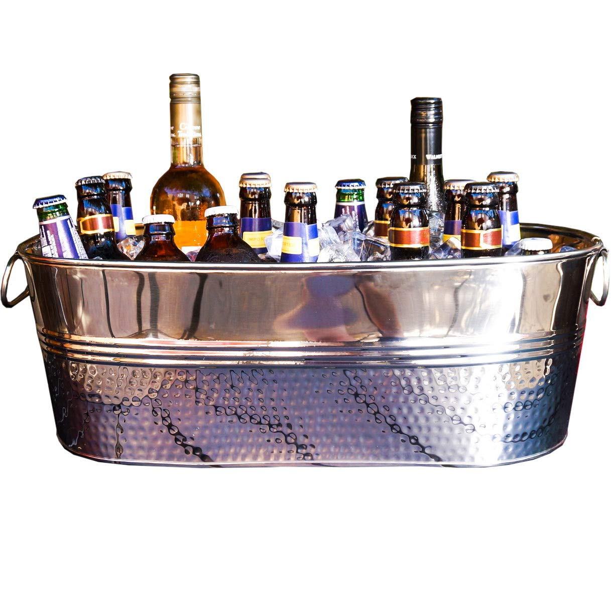 BREKX Colt Hammered Stainless Steel Party Beverage Tub & Wine Chiller - Silver
