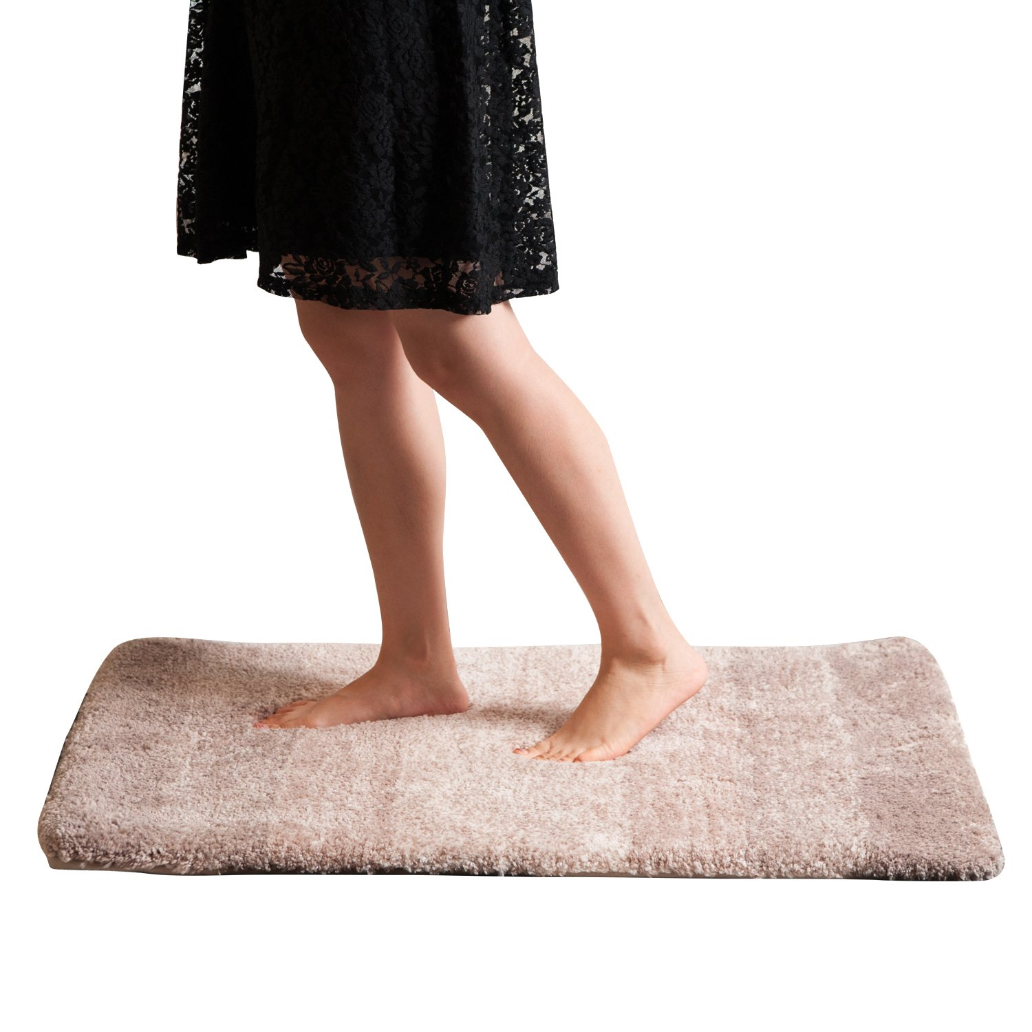 Grand Era Water Absorbent Non-slip Antibacterial Soft Microfiber Rubber 24-Inch-by-36-Inch Bath Mat Rug, Pink KYDPK6091