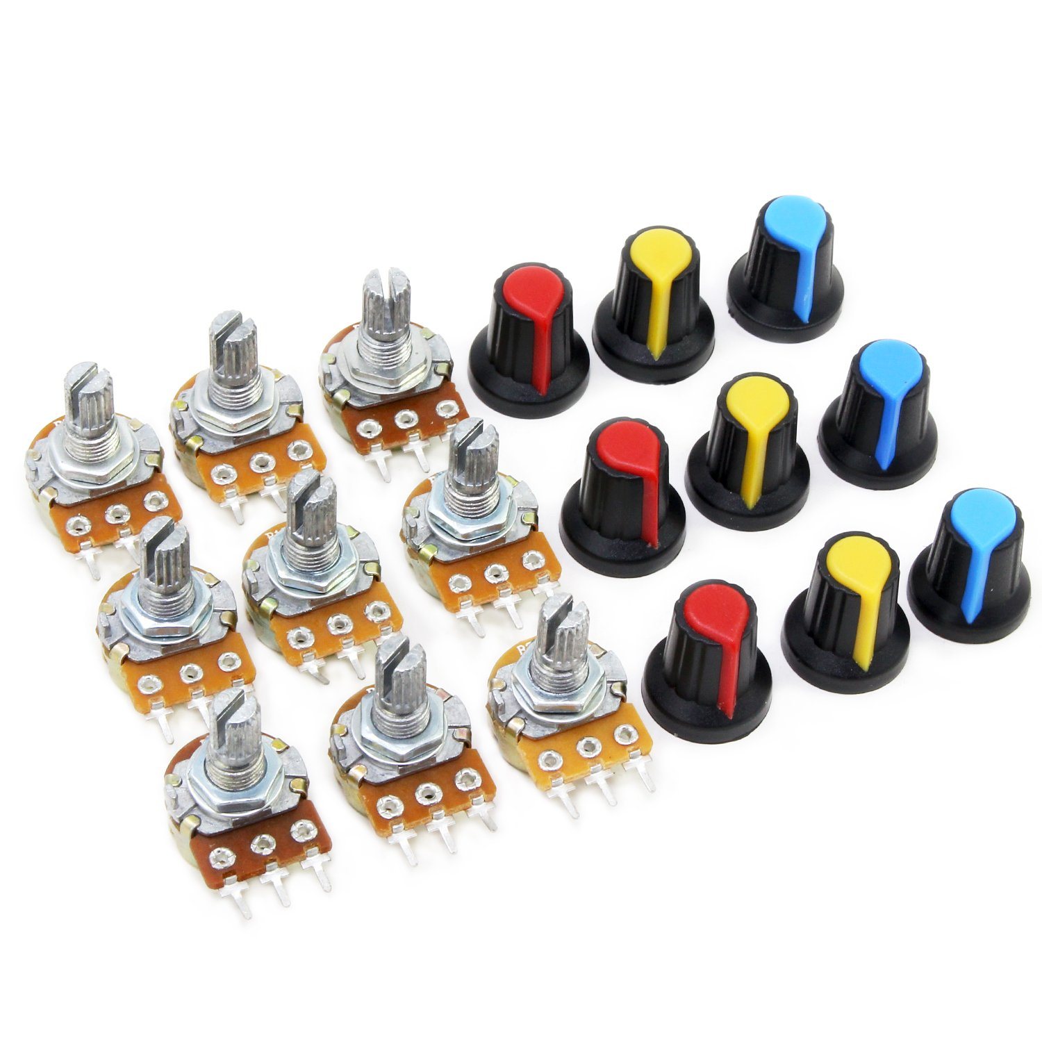 AIKE 1K 2K 5K 10K 20K 50K 100K 500K 1M Linear Potentiometer w/Knob Assortment by AIKE (Image #3)