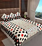 Home Candy 144 TC Dots Cotton Double Bedsheet with 2 Pillow Covers - Multicolor