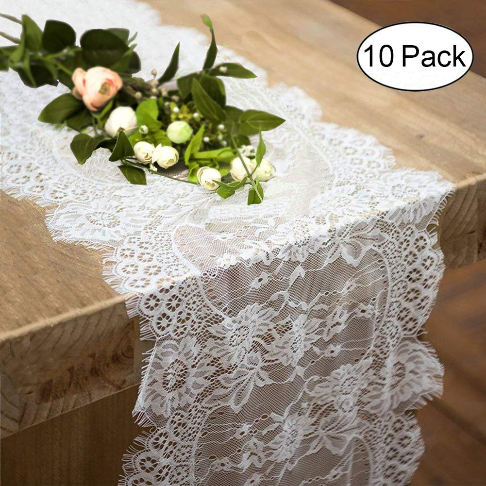 10 Pack Lace Table Runner 14 × 120 Inch White Classy for Rustic Boho Wedding Bridal Shower Party Decorations, Rose Vintage Embroidered Reception Table Runners Decor by Fowecelt