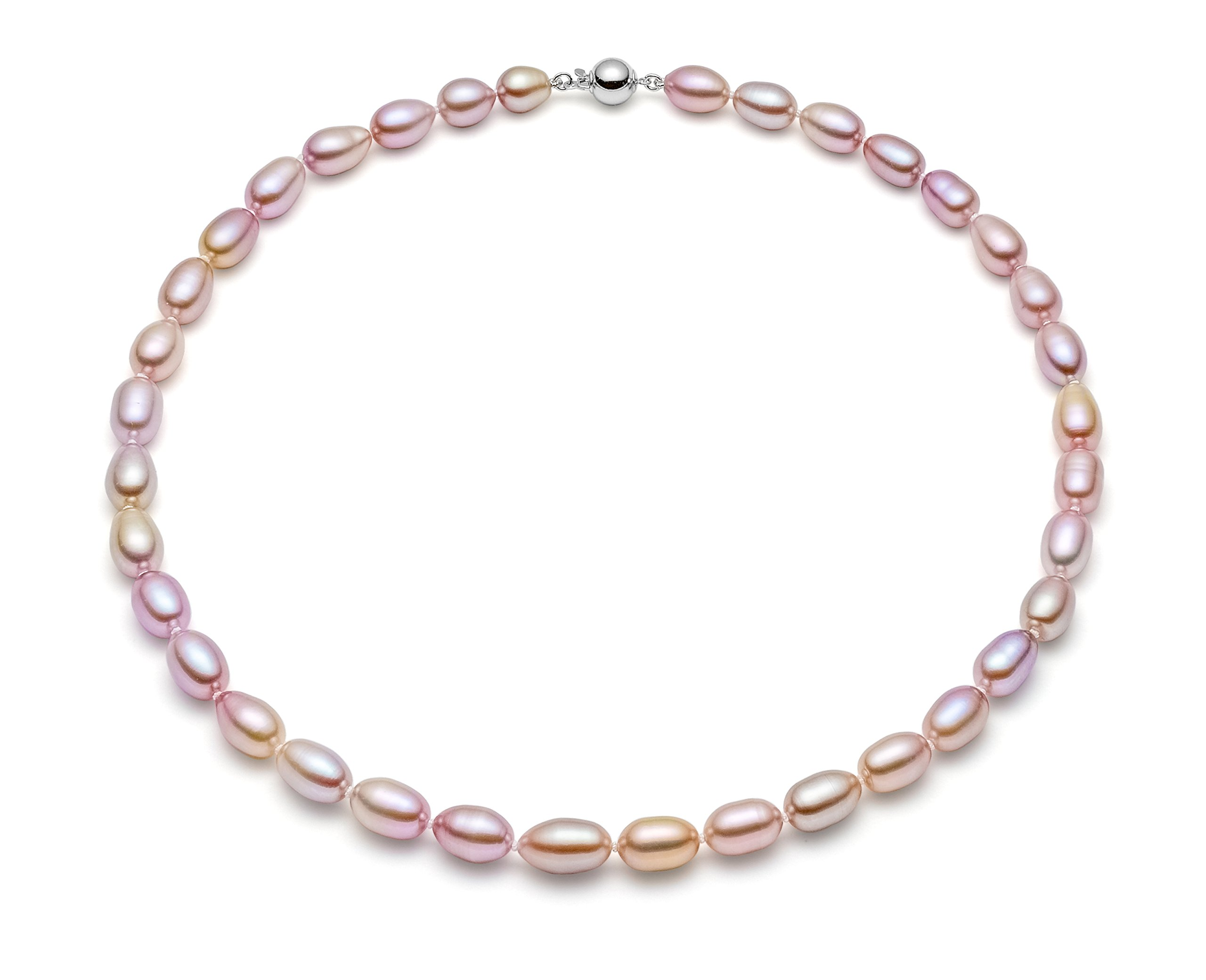 HinsonGayle AAA Handpicked 8-8.5mm Lavender Oval Freshwater Cultured Pearl Necklace Silver 18 inch-18 in length
