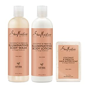 SheaMoisture Bath and Body Kit for Dry Skin Coconut and Hibiscus Illuminating Skin Care, 3 Count