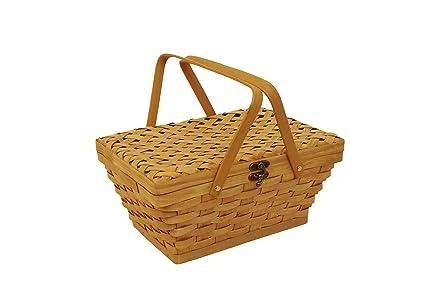 Decorative Collectibles Hearty Vintage Weaved Picnic Basket > Antique Box Boxes Wooden Antiques