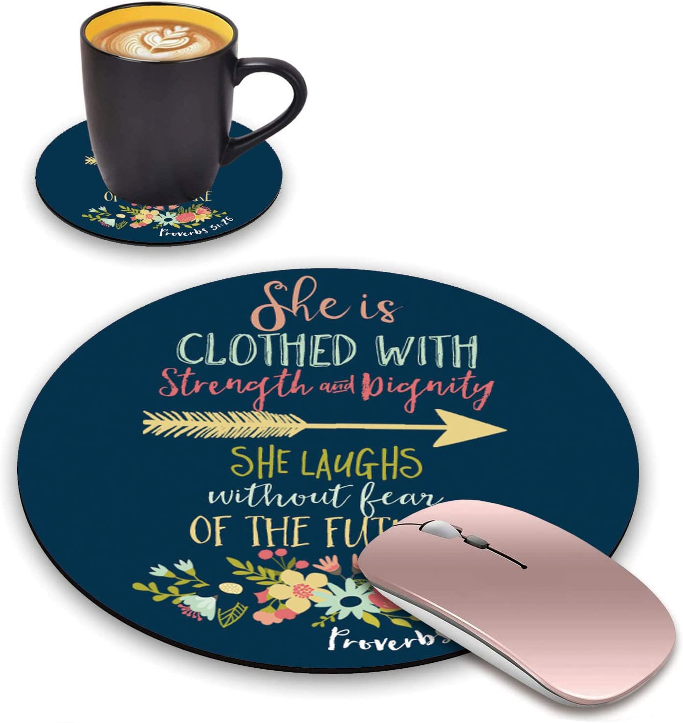 ChaTham Round Mouse Pad with Coasters Set, Christian Quotes Bible Verse Proverbs 31:25 Mouse Pad, Non-Slip Rubber Base Round Mouse Pads for Laptop Compute Working Home Office Accessories