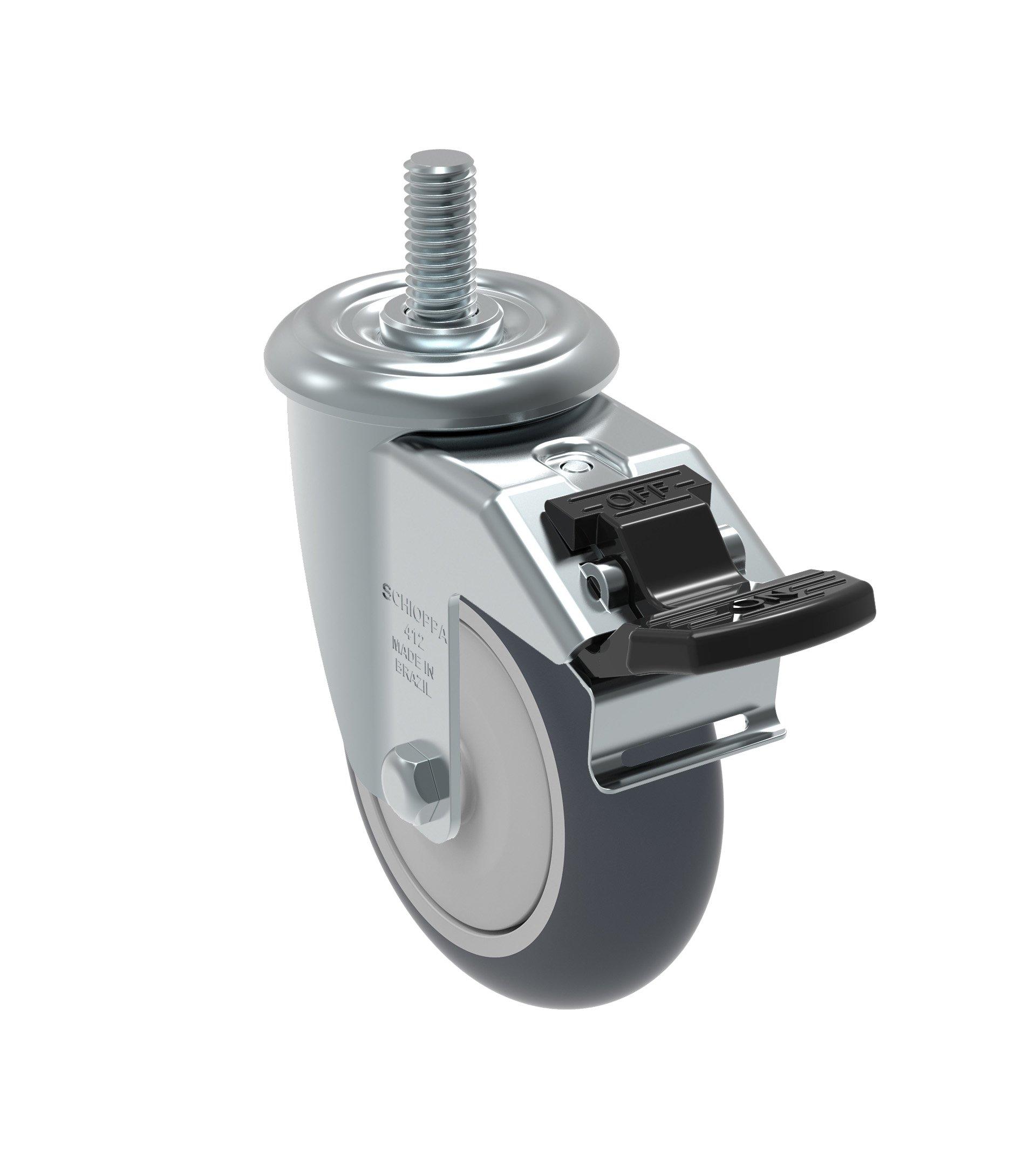 Schioppa GLEEF 412 TBE G L12 Series 4'' x 1-1/4'' Diameter Swivel Caster with Total Lock Brake, Non-Marking Thermoplastic Rubber Precision Ball Bearing Wheel, 3/8'' Diameter x 1-1/2'' Length Threaded Stem, 220 lb