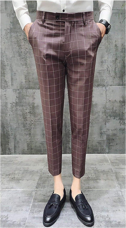 British Style Dress Suit Pant Man Plaid Suit Pant Gentlemen Business Casual Work Pant,Khaki,31