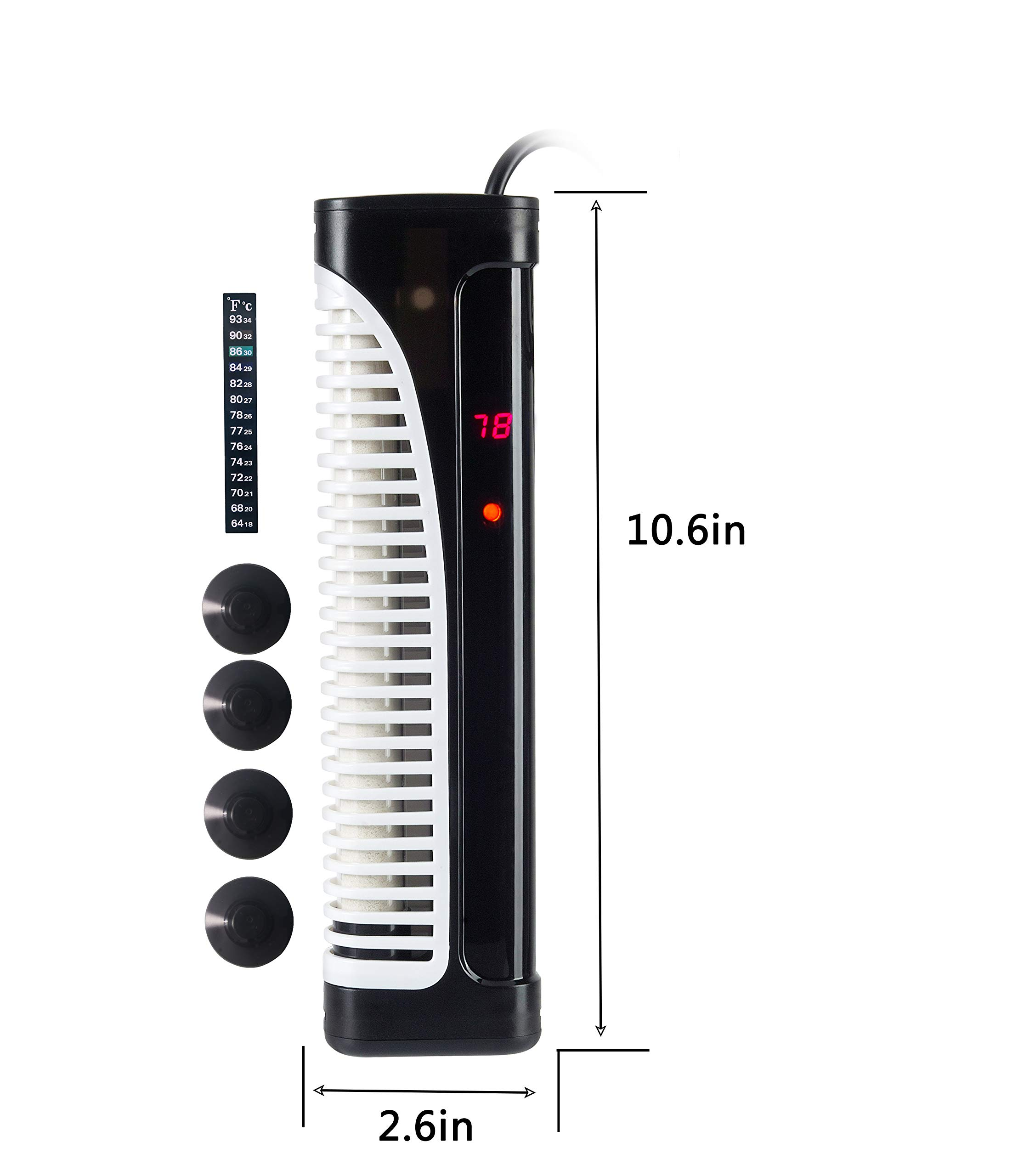 HITOP PTC Submersible Aquarium Heater, 300W (300W [65gal~105gal]) by HITOP