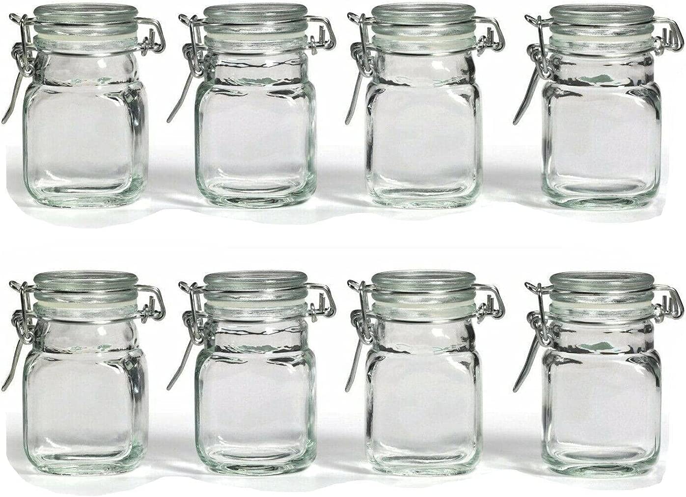 Spice Bottle Set, 6pk Glass Jars w/Hinge Clear Food Storage Containers Canisters Kitchen organization Kitchen decor Storage containers Spice jars Kitchen accessories Kitchen storage Food storage