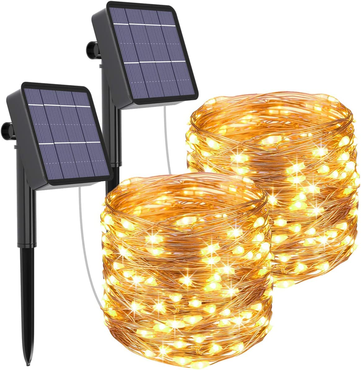Solar String Lights Outdoor, 2-Packs 480LED Ultra Long Solar Fairy Lights 8 Modes Copper Wire Solar Powered Fairy Lights Outdoor Waterproof for Christmas Garden Yard Party Patio Tree (Warm White)