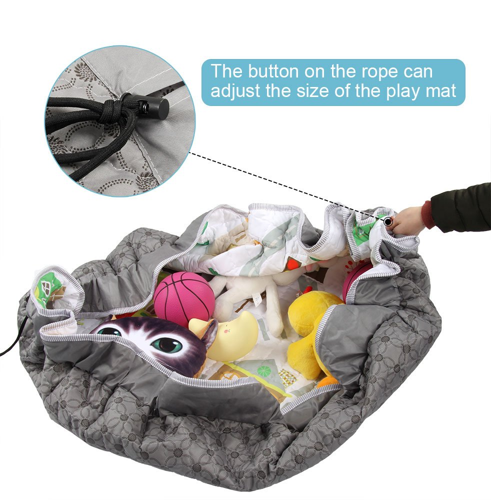 Non-Slip Cotton Gym Play Mat Toy Storage Winthome Baby Play Mat Round Sea World Washable Crawling Mat 59