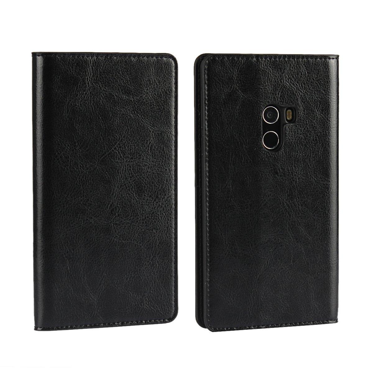 TOTOOSE Xiaomi Mi Mix Wallet Case, Xiaomi Mi Mix Case, Premium Leather Zipper Wallet Multifunctional Boys Removable Card Slot Pocket Pouch Flip Protective Cover for Xiaomi Mi Mix - Black