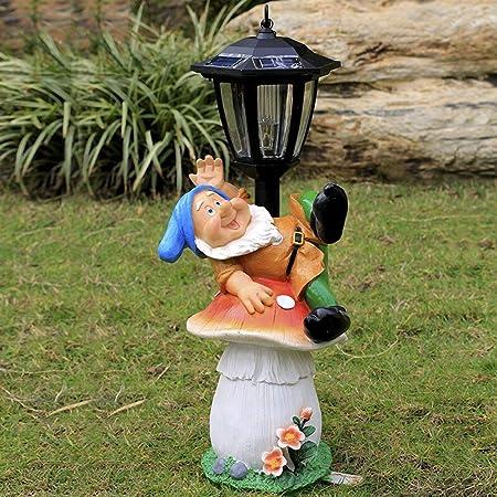 Havanadd Jardín Adorno Escultura Decorativa Luz Solar con esculturas al Aire Libre Pantalla de Navidad decoración jardín decoración del Ornamento de Cristal de Acero de Dibujos Animados: Amazon.es: Hogar