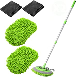 """VOKUA Car Wash Mop,Microfiber Wash Brush 2in1 Chenille Car Wash Mop Mitt with 44.5"""" Adjustable Aluminum Alloy Handle, Duster Brush Not Hurt Paint Scratch Free Cleaning Tool 180 Degree Rotation (Green)"""