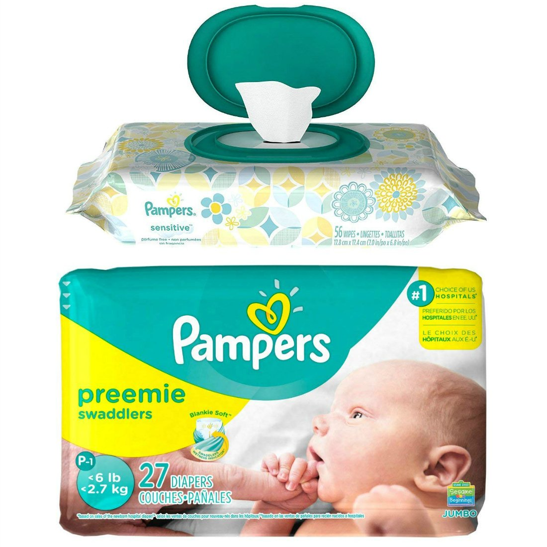 Diaper/Baby Wipe Travel Pack | Includes Pampers Swaddlers (Preemie - up to 6 lbs) | 27 Count and Sensitive Wipes Resealable Pop-Top Container (56 Count)