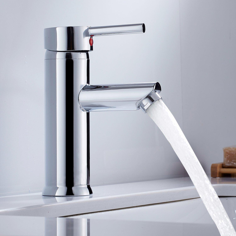 Hotbestus Modern Bathroom Sink Faucet Chrome One Handle Basin Mixer