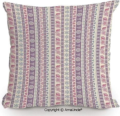 AmaUncle - Funda de almohada cuadrada decorativa con algodón y ...