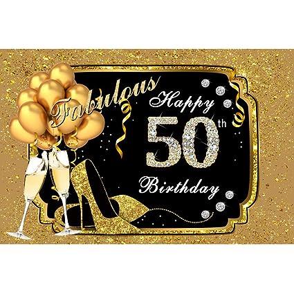 OERJU 1,5x1m Feliz cumpleaños Fondo Fabuloso de Oro Feliz 50 cumpleaños de Diamante Decoración Globo de champán Fiesta de cumpleaños Decoración de ...
