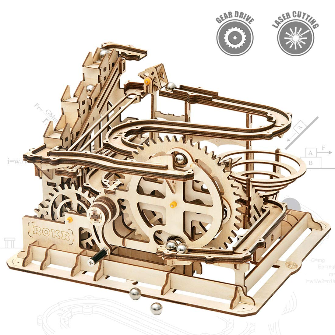 ROKR Mechanical 3D Wooden Puzzle Model Kit Adult Craft Set Educational Toy Building Engineering Set Christmas/Birthday/Thanksgiving Day Gift for Adults Boys Kids Age 14+(LG501-Waterwheel Coaster) by ROKR