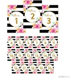 Andaz Press Floral Gold Glitter Print Wedding Collection, Table Numbers 1 - 20 on Perforated Paper, Single-Sided, 4 x 6-inch, 1 Set