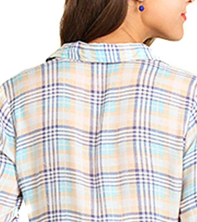 03846748 Umgee Women's Blue Plaid Button up Western Long Sleeve Tunic Top Shirt at Amazon  Women's Clothing store: