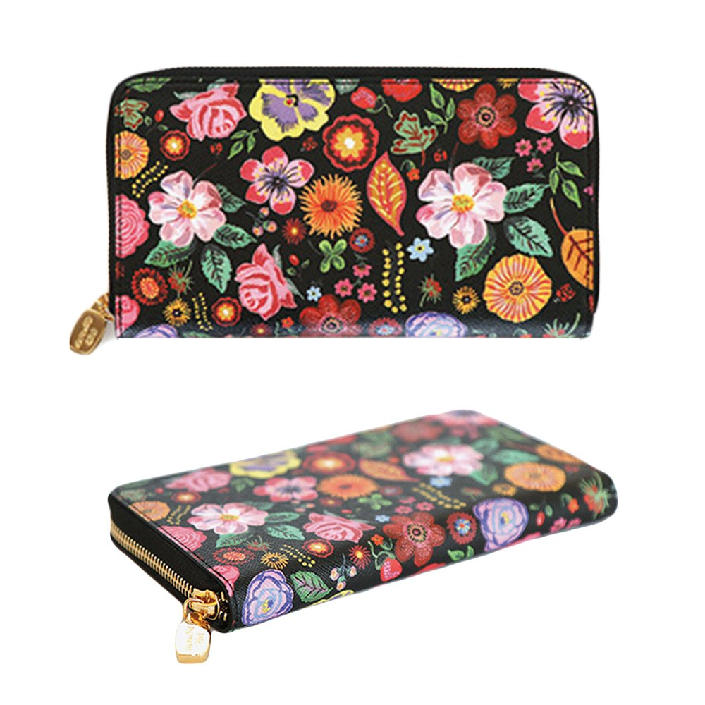 Nathalie Lete Luxury Genuine Leather Zip Around Long Wallet Purse with Gift Box (Black Flower)
