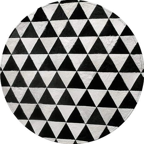 Amazon.com: Alfombra redonda de cuero negro y blanco patrón ...