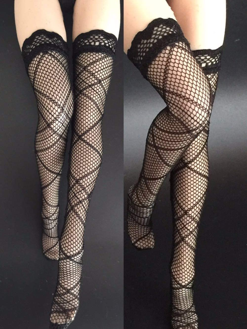 1//6 Scale Black Fishnet Socks Pantyhose Hosiery For 12'' Female Action Figure