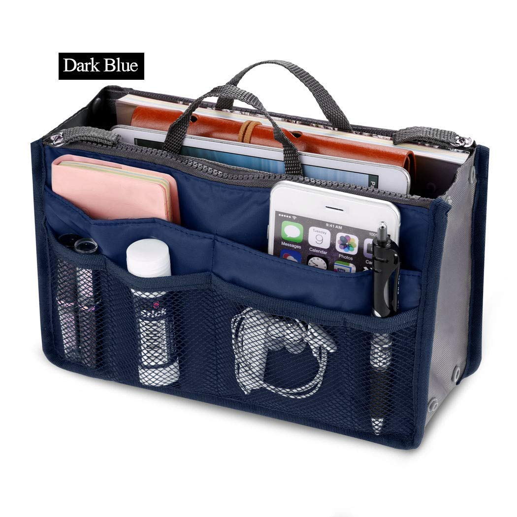 Fashion Women Multifunction Travel Cosmetic Makeup Insert Pouch Toiletry Organizer Handbag Storage Pur Closet Systems (Dark Blue)