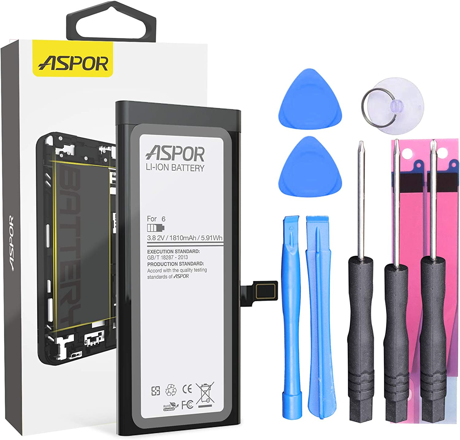 ASPOR Battery for iPhone 6, 1810 mAh Battery Replacement Compatible with iPhone 6 with Complete Repair Tool Kits & Adhesive Strips