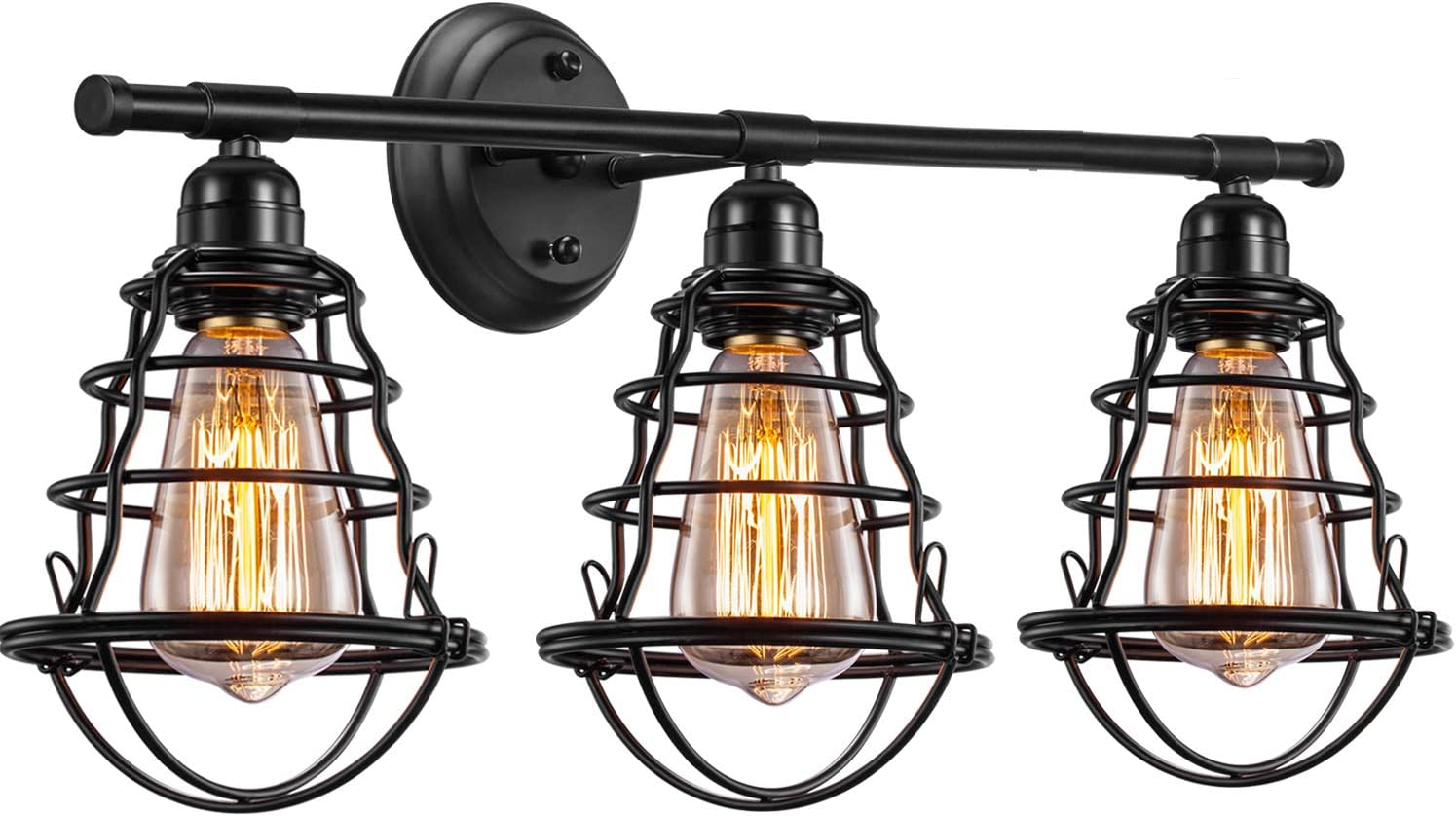 Edison 3 Light Bathroom Vintage Vanity Wall Sconce Lighting Industrial Metal Wire Cage Wall Light Rustic Farmhouse Style Wall Lamp Fixtures For Bathroom Living Room Kitchen Amazon Com