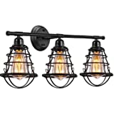 Edison 3-Light Bathroom Vintage Vanity Wall Sconce Lighting, Industrial Metal Wire Cage Wall Light, Rustic Farmhouse Style Wall Lamp Fixtures for Bathroom Living Room Kitchen