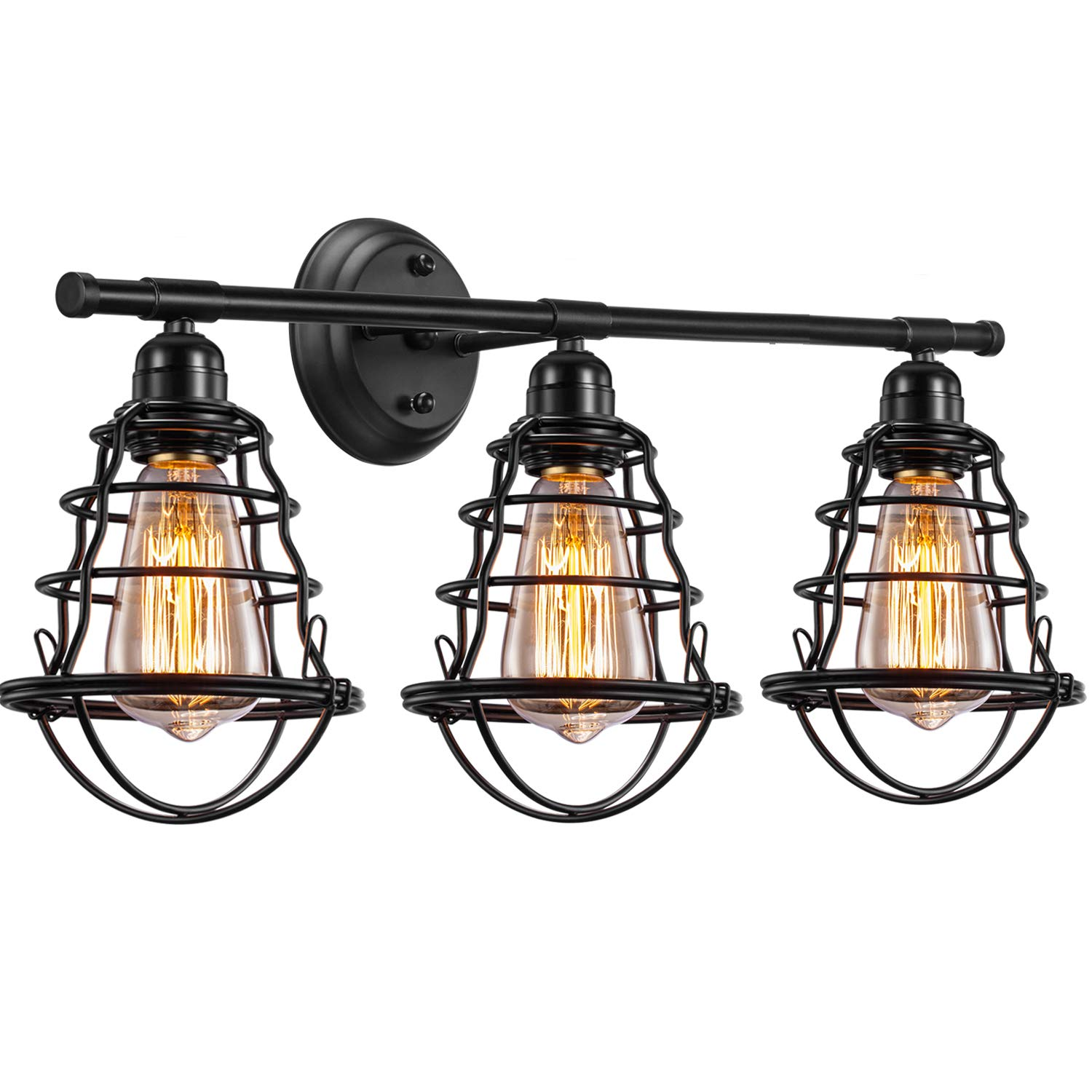 Asnxcju Edison 3-Light Bathroom Vintage Vanity Wall Sconce Lighting, Industrial Metal Wire Cage Wall Light, Rustic Farmhouse Style Wall Lamp Fixtures for Bathroom Living Room Kitchen