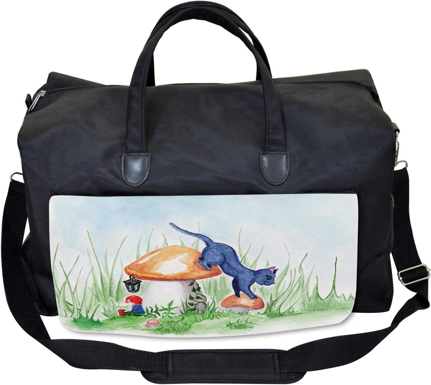 Ambesonne Animal Gym Bag Large Weekender Carry-on Mushroom Garden Leaf
