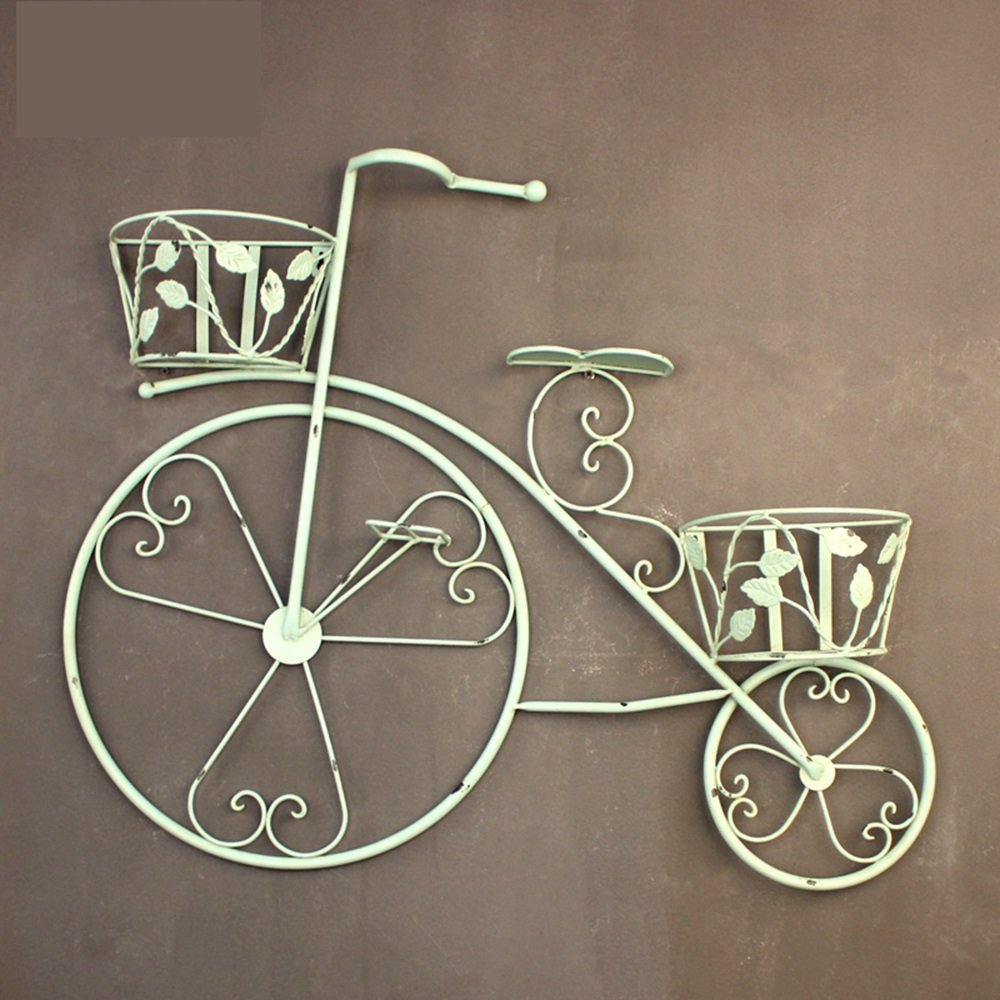 Vintage Iron Bicycle Decoration Flower Frame Flower Basket Wall Wall Hanging Balcony Flower Stand Hanging Multilayer Pendant (Color : Light Green)