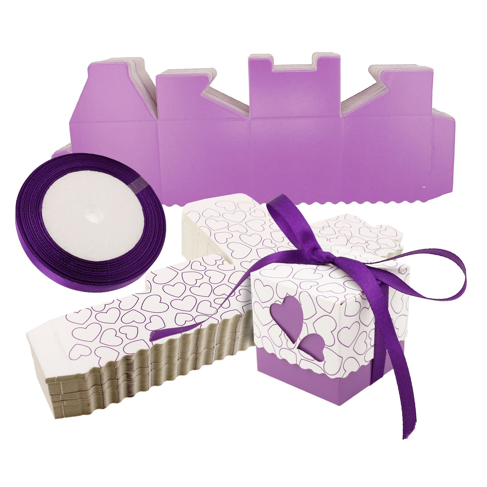 Creative Idear 50x Wedding Party Gift Case Ribbons Favors Love Heart Design Candy Boxes Purple