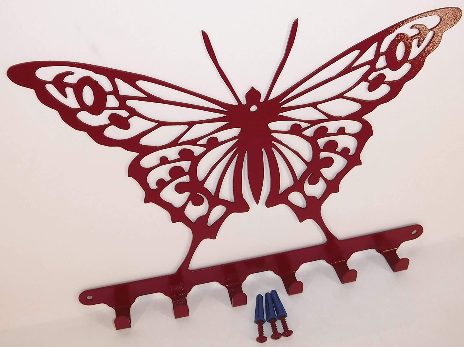 Butterfly Wall Key Holder Hardware Included. Solid Steel Cherry Red Color Handmade in USA