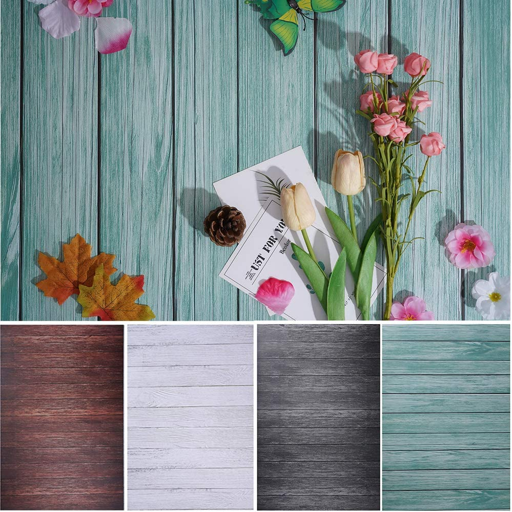 Bcolorpic Food Photography Wood Backdrop 2 Pack 27x39Inch/ 70x100cm Background Paper Double Sided for Food Product Jewelry Tabletop Pictures Flat Lay Photo Props