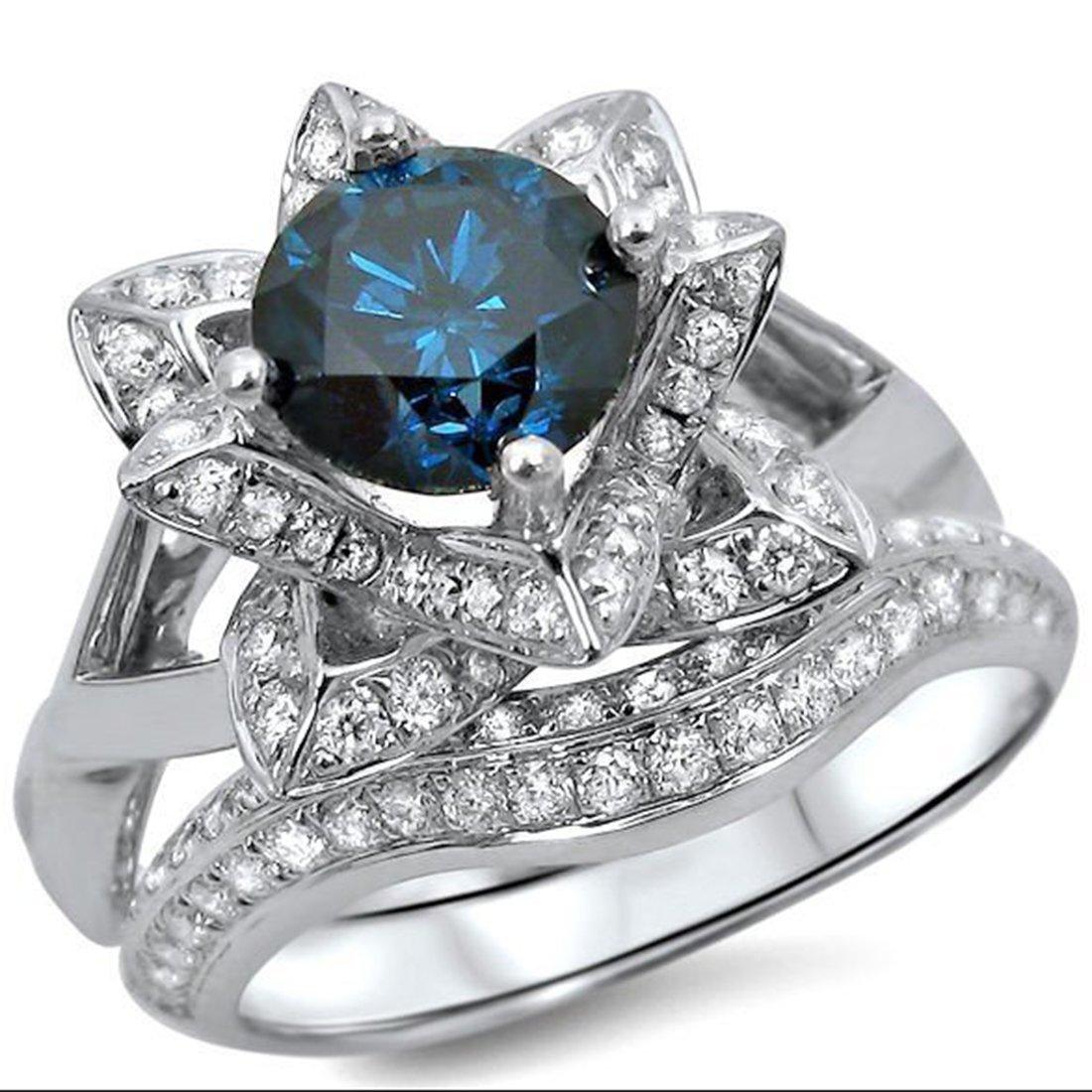 Smjewels 1.70 Ct Blue Round Sim.Diamond Lotus Flower Engagement Ring Set 14K White Gold Plated