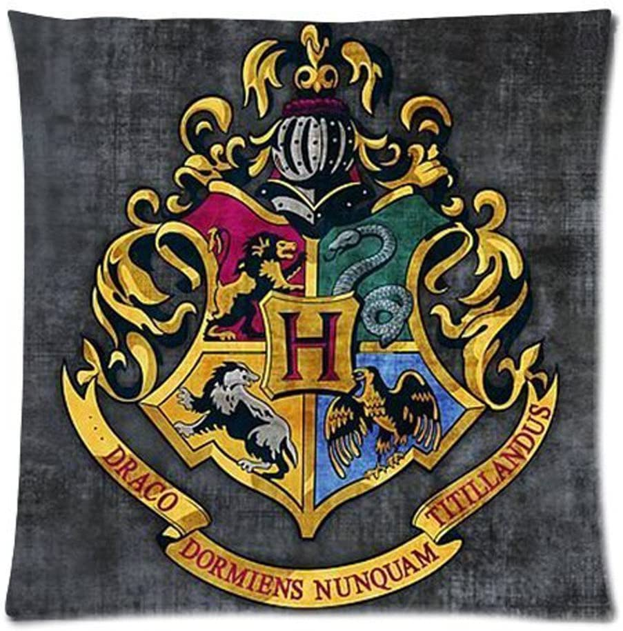 Hogwarts School Sign Gryffindor Ravenclaw Hufflepuff Slytherin Custom Pillowcase Pillow Sham Throw Pillow Cushion Case Cover 18x18 Inches