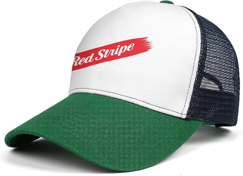 Adjustable Baseball Cap Classic Trucker Hat All Cotton Coolcaps Men Red-Stripe-Logo