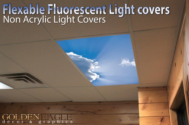 B kitchen fluorescent light covers Sky 3 2ft 4ft Drop Ceiling Fluorescent Decorative Ceiling Light Cover Skylight Film Amazon com