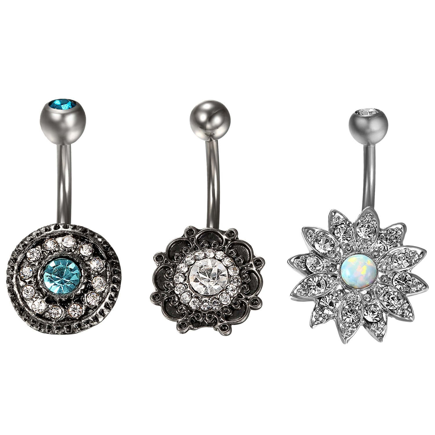 Cupimatch 3PCS Stainless Steel Belly Button Rings Cubic Zirconia Navel Bars Body Piercing Jewelry for Women C006001